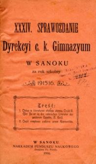 XXXIV. Sprawozdanie Dyrekcyi c.k. Gimnazyum w Sanoku za rok szkolny 1915/16