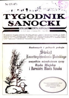 Tygodnik Sanocki, 1992, nr 15
