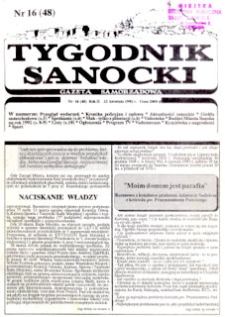 Tygodnik Sanocki, 1992, nr 16