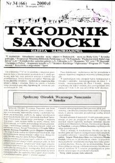 Tygodnik Sanocki, 1992, nr 34
