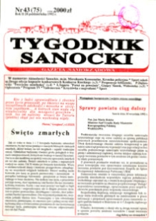 Tygodnik Sanocki, 1992, nr 43